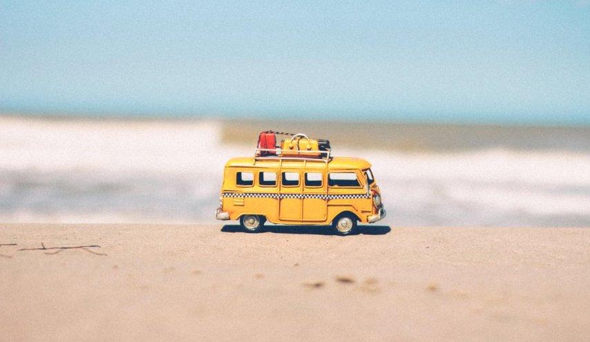 bus at beach