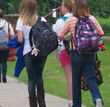 students walking